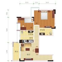 2室1厅1卫  72.24平米