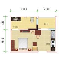 1室1厅1卫  24.73平米