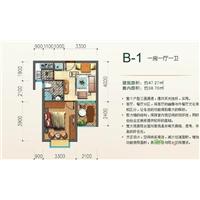 1室1厅1卫  47.37平米