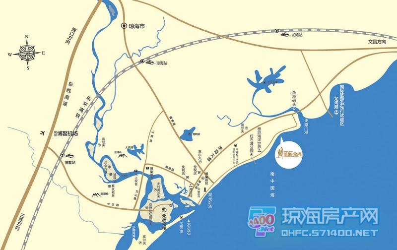 海南琼海博鳌地图