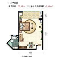 1室1厅1卫  52.47平米